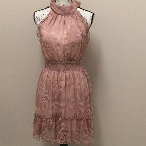 Chelsea & Violet sheer dusty rose dress